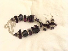 Crystal Cross with Purple Quartz and Crystal Bead Bracelet 3