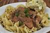 Mmm... roast pork and gravy over egg noodles