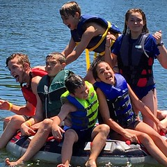Can you fit six kids on a tube? Not for long before the siblings start attacking each other. :) #LakeWylie