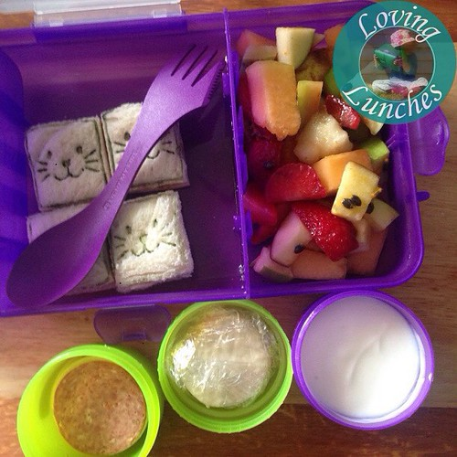 Loving a fruit salad when my head hurts too much to brain… simple @nudefoodmovers for Miss M today. Cat sandwiches, fruit salad, yoghurt, pepperoni/crackers/cheese