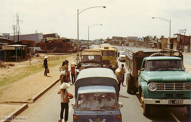 Saigon 1970-71 by John Hettish - Typical mix of traffic in the Saigon area.