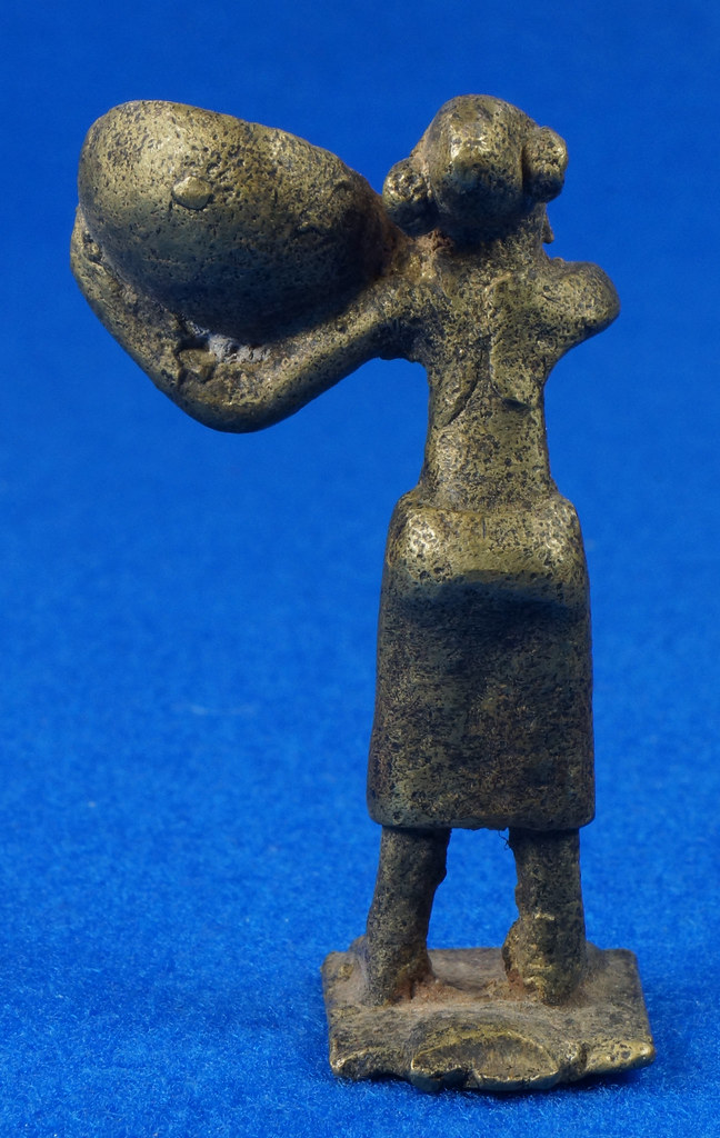 RD15104 4 Vintage African Hand Made Folk Art Primitive Figurines Solid Cast Brass Burkina Faso Yoruba West Africa DSC07104