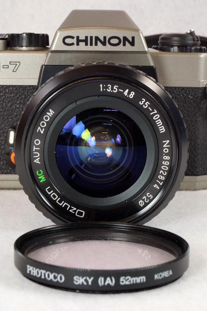 RD14976 Chinon CM-7 35mm SLR Film Camera, 50mm Ozunon Lens, Manuals & Coastar Case DSC07830