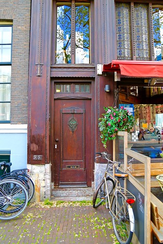 Bikes and door of Amsterdam.