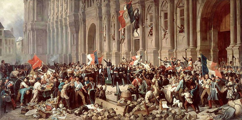 Lamartine in front of the Town Hall of Paris rejects the red flag on 25 February 1848
