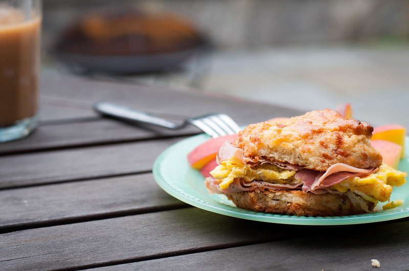 Garlic cheddar biscuit breakfast sandwich - for next brunch party