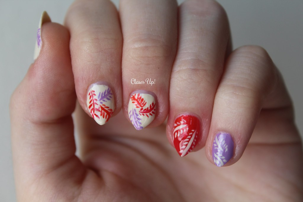 Colorful fern nail art using Jacqueline nail polish