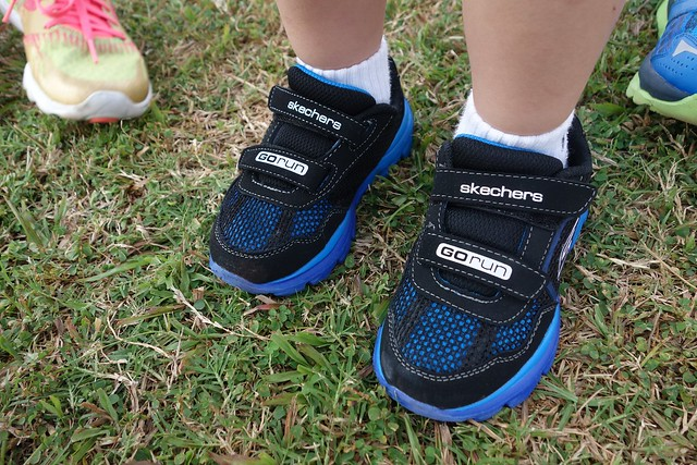 The boys are wearing the Skechers Go Run Ride Go Too Boys Trainer.