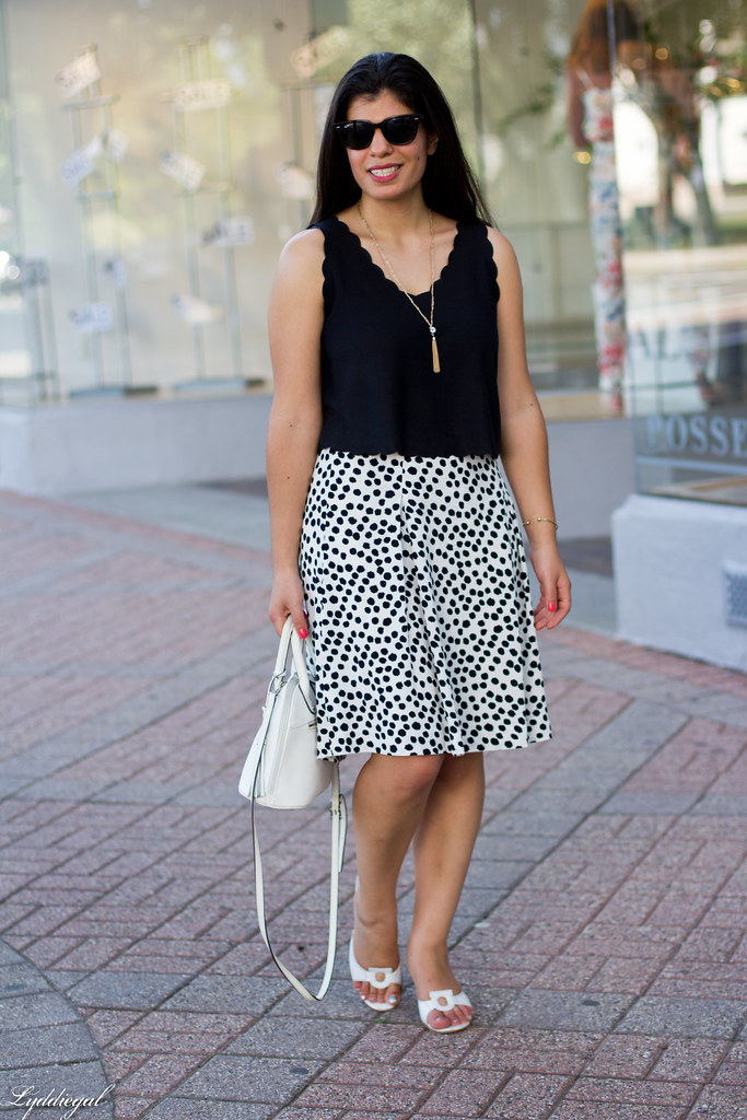 spotted skirt, scalloped hem crop top, white sandals-2.jpg