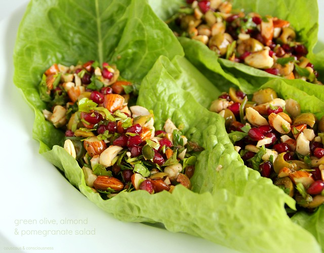 Green Olive, Almond & Pomegranate Salad 1