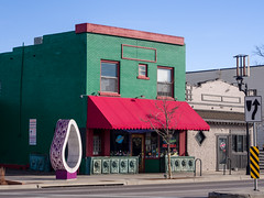 Pasquini's Pizzeria with street sculpture