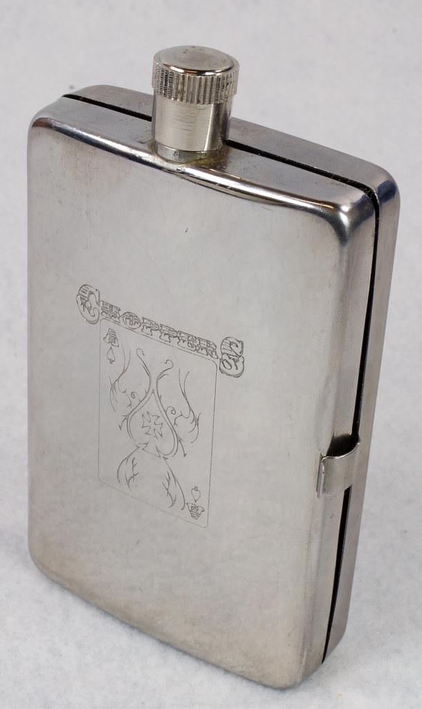 RD15128 Choppers Emblem Ace of Spades Metal Pocket Flask & Cigarette Case DSC08212