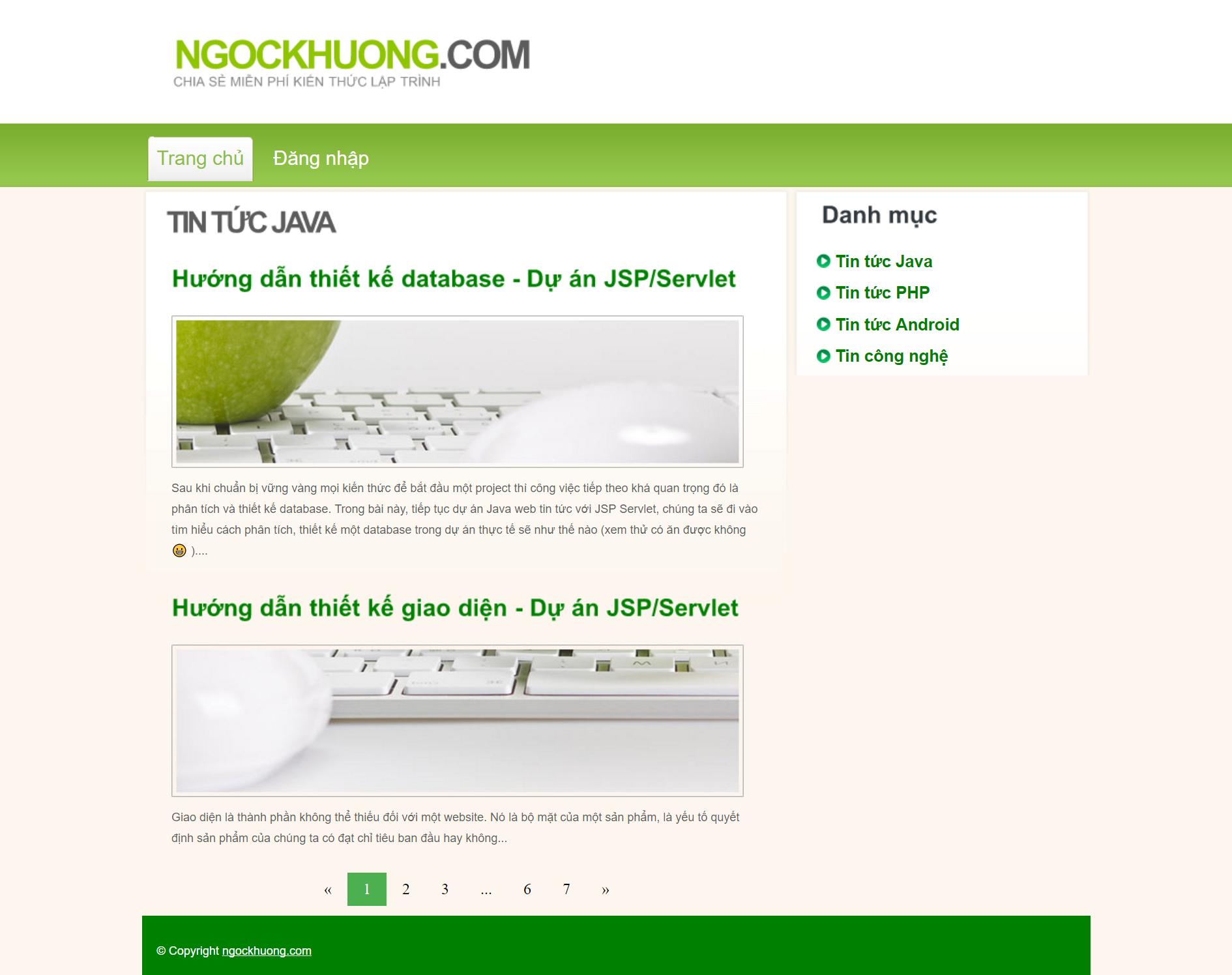 Dự án Java web tin tức với JSP Servlet - Bài 3: Phân tích và thiết kế giao diện