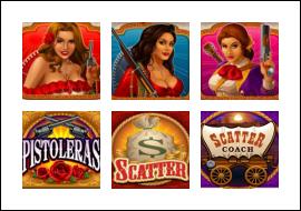 free Pistoleras slot game symbols