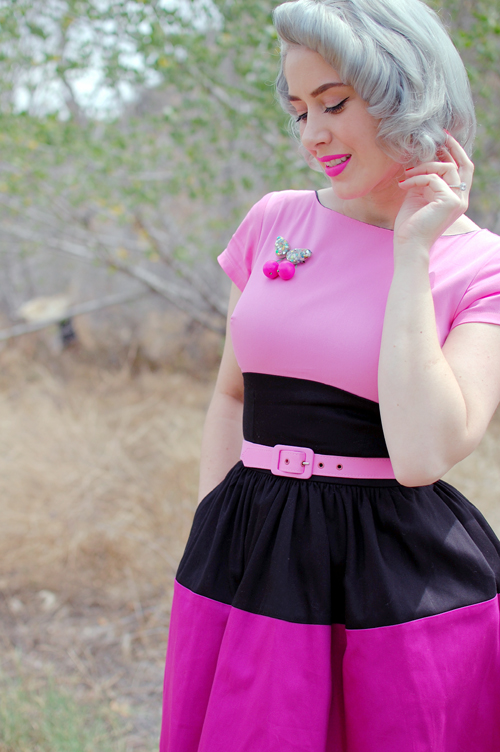 Pinup Girl Clothing Amanda dress in Black and Pink