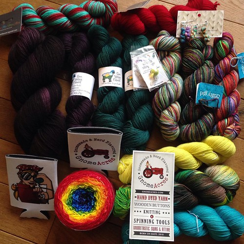 My #stitchesmidwest2015 haul. I was deliberate in my purchases, but I forgot to pick up another @kitchencountercrafter needle-minder. Clearly, I'll have to hit up @javajennie when she gets home.