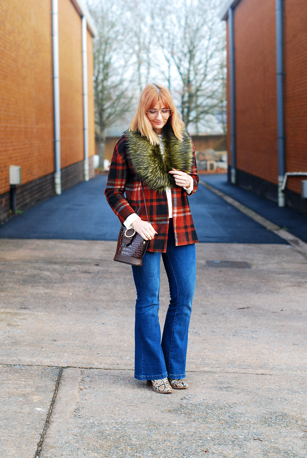 Autumnal casual outfit of faux fur collar  red tartan jacket  denim flares  snakeskin boots | Not Dressed As Lamb, over 40 style