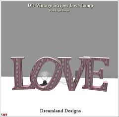 DD Vintage Stripes Love Lamp Vendor