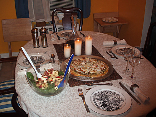Couples are beating the recession with candlelit dinners for two at home.