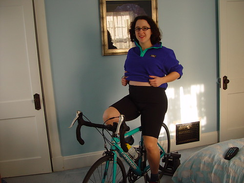 Pregnant lady rides the bike trainer