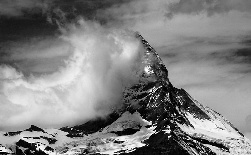 Wind driving clouds against the Matterhorn