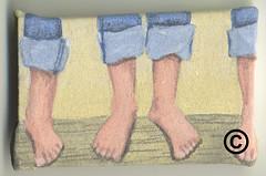 bare feet on log