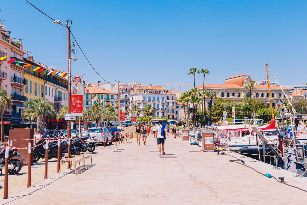 The streets along the old harbour in Cannes