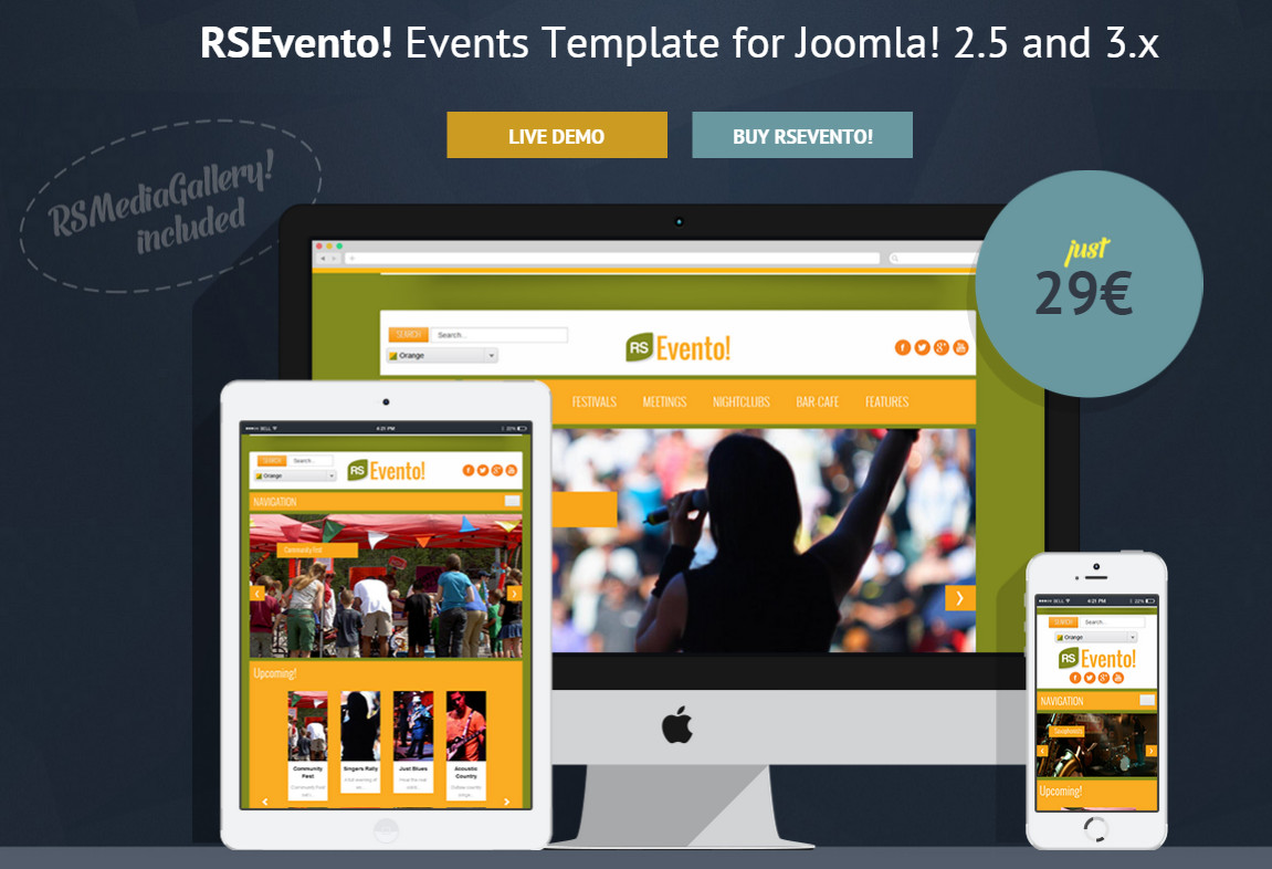 RSEvento! – premium template for CMS Joomla 3