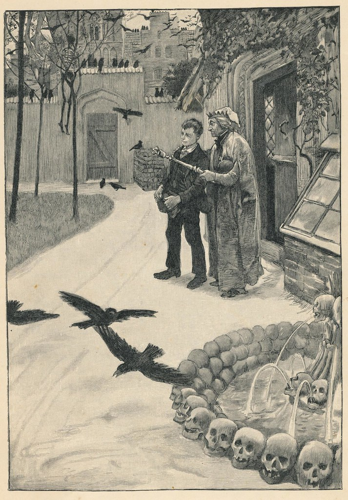 "Hans Tegner - ""The King lead Johannes out into the Princess' garden. In every tree hung three or four skeletons of Princes who had wooed the Princess."" from Andersenovy pohádky (Andersen's Fairy Tales), by Hans Christian Andersen, 1900"