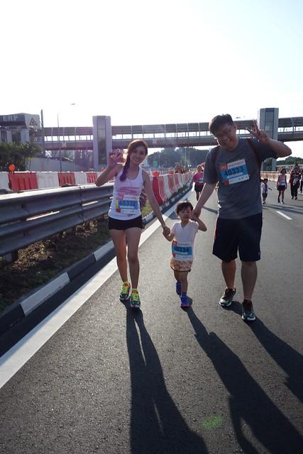 Estella & family mid-run.