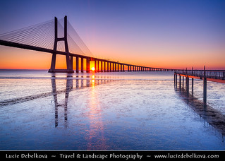 Portugal - Lisbon - Lisboa - Ponte Vasco da Gama at Rio Tejo at Dusk - Twilight - Blue Hour - Night