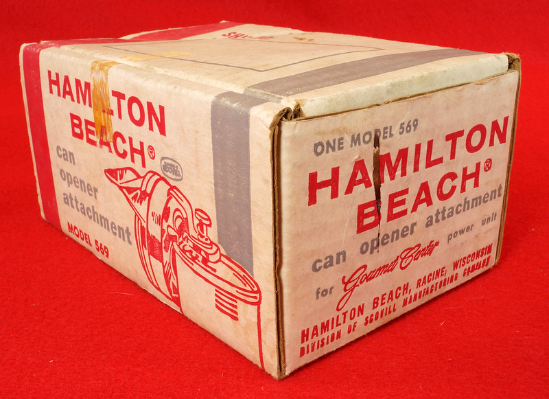 RD9229 Vintage Hamilton Beach Can Opener Attachment 569 for Power Unit in Original Box DSC08552