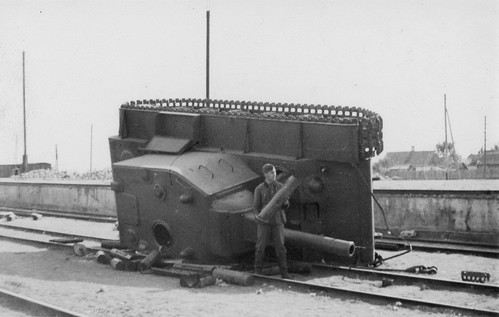 German Soldier & Soviet heavy tank KV-2, at railway platform station  in Lida Hrodna voblast 1941
