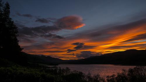 dawn sunrise sunup east sky clouds silhouettes shadows rhidorroch ullapool westerross rosshire highlands scotland