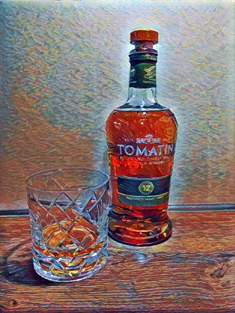Tomatin 12 years old, driven by Prisma Effects Alcohol Bottles Alcoholic Drink Whyskey Lifestyles Still Life