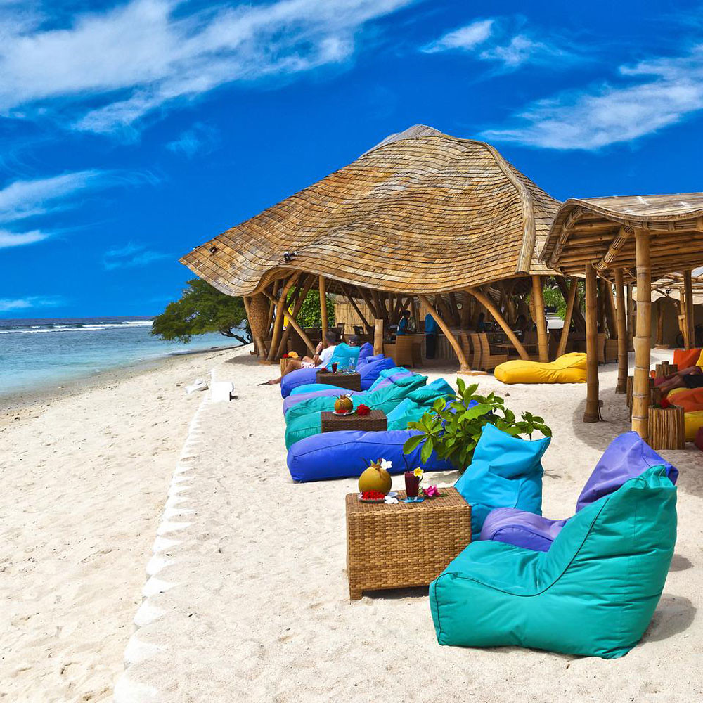 This gorgeous beach lounge is a prime location for sunset watching on the  island. Made almost entirely out of bamboo, the restaurant is situated  right on ...
