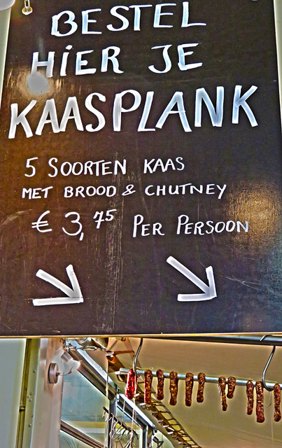 A cheese plate (kaasplank) for sale to accompany your beer in the Kaapse Brewpub