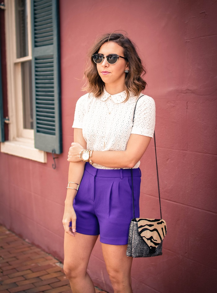 aviza style. andrea viza. fashion blogger. dc blogger. midi shorts. eyelet top. eyelet peter pan collar. joie flip flops. preppy summer style. 12