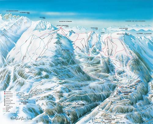 Les Karellis - mapa zjezdoviek
