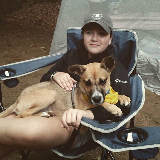 Nadia getting a little spoiled on her first camping trip.