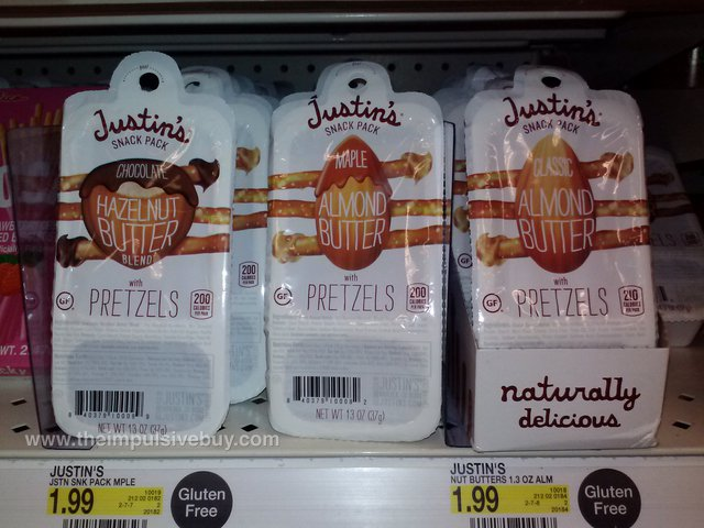 Justin's Snack Packs (Chocolate Hazelnut Butter Blend, Maple Almond Butter, and Classic Almond Butter)