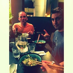 Dinner pre-mayhem with these two. @itymms @intrepidteacher  #msenglish #friendsweworkwith #930 #countdown