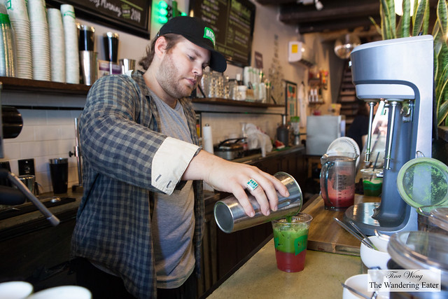 Max (co-owner of MatchaBar) making the iced watermelon matcha drink