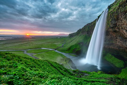 travel blue sunset brown moon mountain color photoshop sunrise 35mm landscape photography waterfall iceland colorful long exposure outdoor sony creative full mount moonrise workshop e software hour frame nik serene fe a7 seljalandsfoss colby masking 1635 luminosity a7ii efex a7r