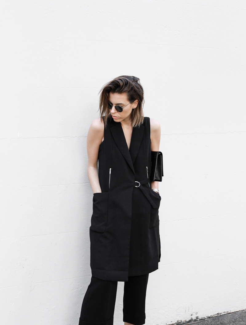 modern legacy, fashion blog, all black street style, work wear inspo, culottes, cuffed pants, Stella McCartney loafers, Karen Millen, round sunglasses (1 of 1)
