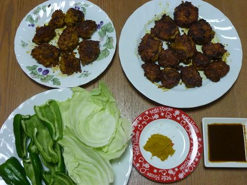 雄飛さん考案の和風 シャキシャキ野菜にのせるカレーつくねを作りました。