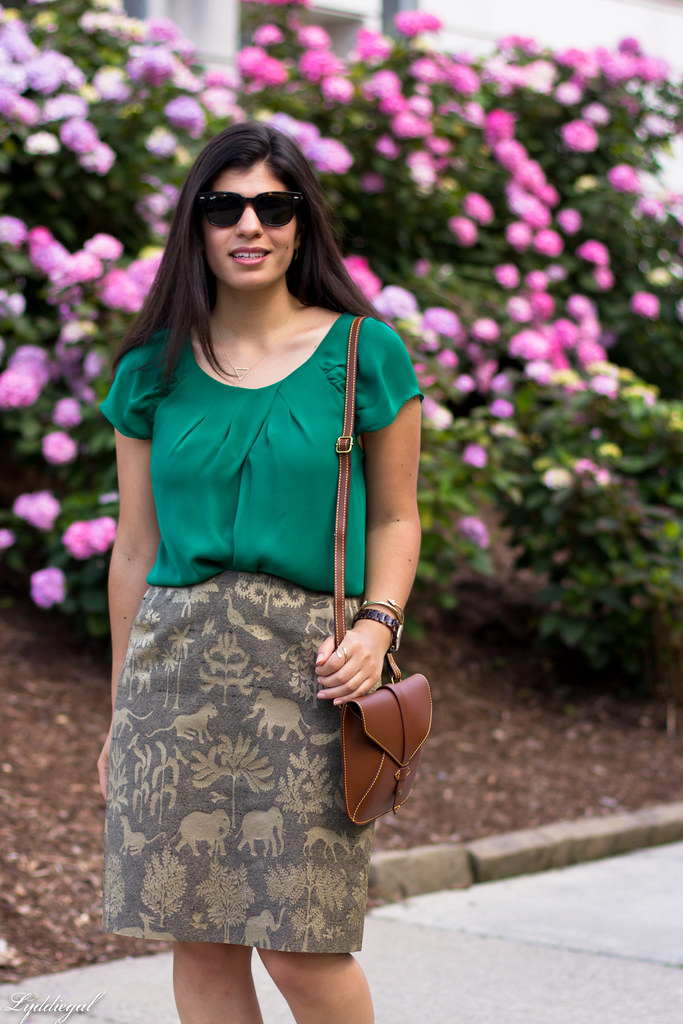 elephant print skirt, green silk blouse, brown sandals-4.jpg