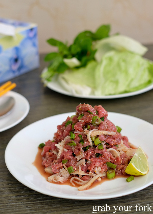 Lao raw minced beef salad at Phounguen Lao and Thai Restaurant, Cabramatta