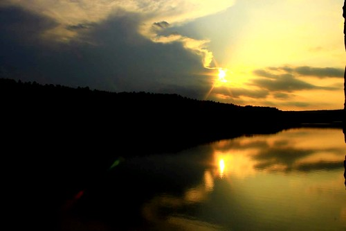 sunset sky orange sun lake reflection nature water beautiful clouds landscape massachusetts peaceful calm