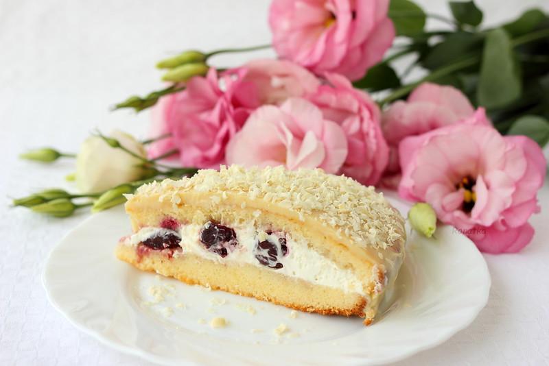 Летний торт с вишней и белым шоколадом